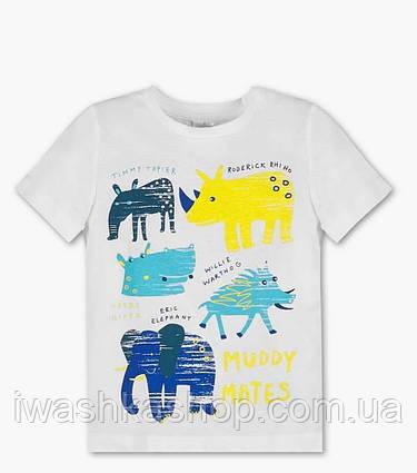 Стильная белая футболка с животными, на мальчика 4 - 5 лет, р. 110, Palomino / C&A