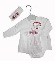 Нарядное боди платье  + повязка для новорожденной девочки размер 56/62/68