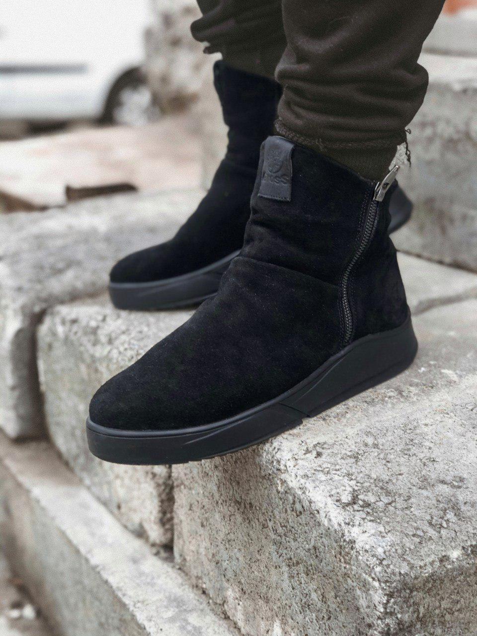 Мужские зимние ботинки черные замша Gross 6256