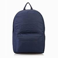 Рюкзак спортивный Reebok Logo Backpack AJ6017 (синий, полиэстер, мужской, женский, 20 литров, логотип рибок)