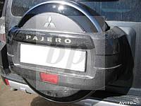 Чехол запасного колеса (колпак запаски) хром Mitsubishi pajero wagon IV (митсубиси паджеро вагон 4) 2005г+