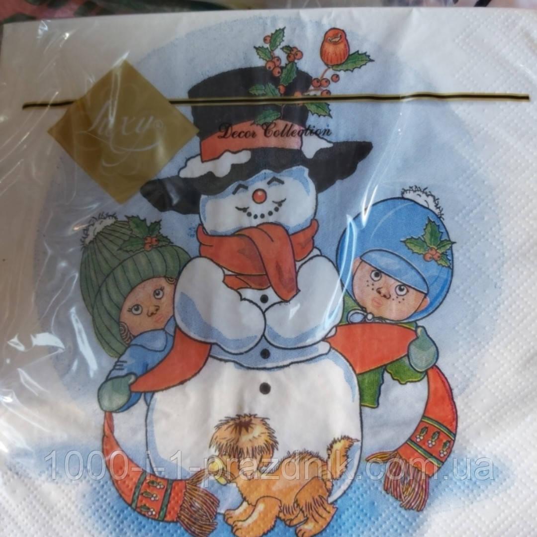Салфетки 3-х слойные 20 шт. Снеговик с детьми
