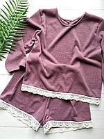 Женская пижама-комплект для дома и сна с мягкого ангора с хлопковым кружевом в темно-розовом цвете, фото 1
