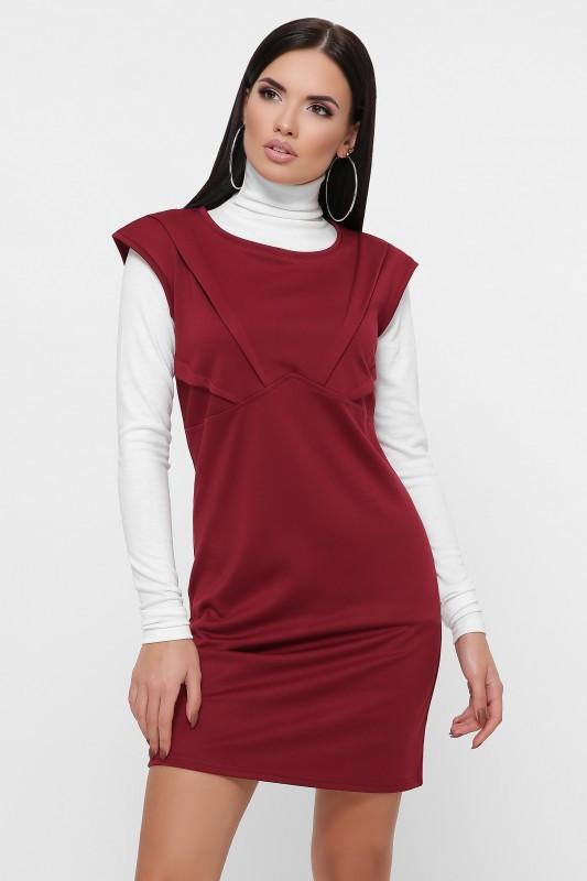 """Приталенное платье """"Latina"""" марсала (42-48)"""