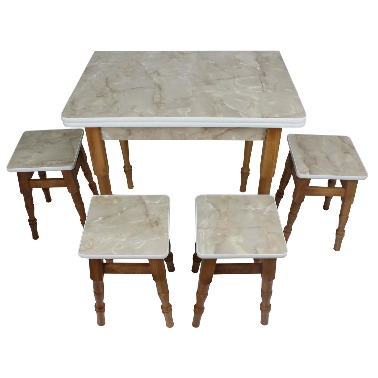 """Раскладной обеденный стол с табуретками """"Мрамор оникс"""""""