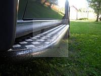 Боковые пороги площадки (порошок/черный мат) Mitsubishi pajero wagon III (митсубиси паджеро вагон 3) 1999-2006