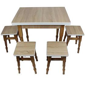 """Раскладной обеденный стол с табуретками """"Дуб сонома"""""""
