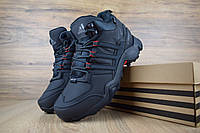 Кроссовки мужские Adidas Swift Terrex зимние адидасы из нубука, мех цигейка на шнуровке, синие, ТОП-реплика