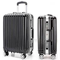 Оригинальный на колесиках пластиковый чемодан двойка, черный комплект