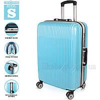 Глянцевый надёжный пластиковый чемодан, маленький , фото 1