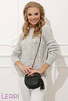 Модный женский свитер прямого кроя серый