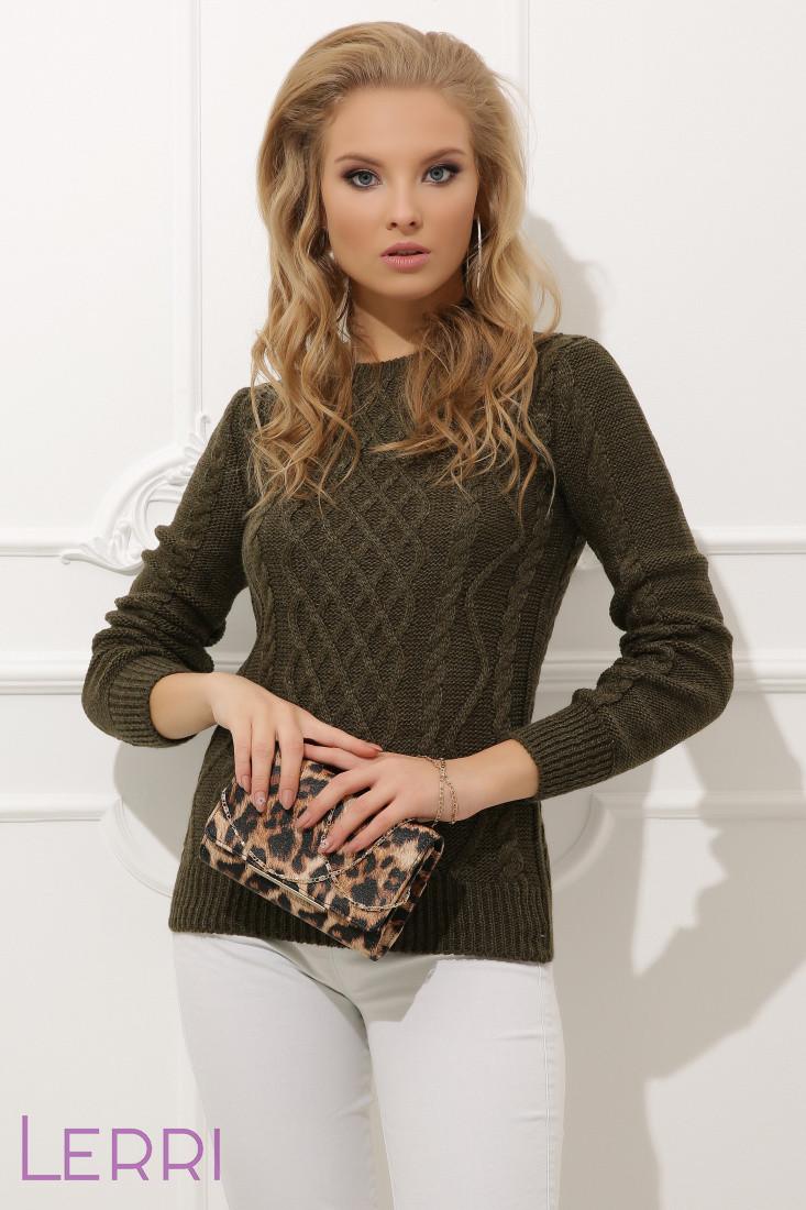 Вязаный женский свитер с круглым вырезом хаки