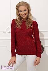Вязаный женский свитер с круглым вырезом хаки, фото 2