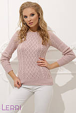Вязаный женский свитер с круглым вырезом хаки, фото 3