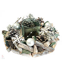 Новогодний венок с подсвечником Снежный лес 8004-013