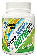 Витамины для волос Stark Pharm - Biotin 5000 мкг (120 таблеток) (витамин для ногтей, кожи, B7, H, биотин)