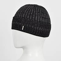 Мужская шапка Nord на флисе 161084 Черн+сер