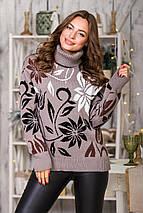 Свитер с цветочным принтом Вероника   (капучино, черный, шоколад, белый), фото 2