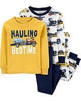 """Набор с двух пижамок Carter's 4 в 1 """"Машинки"""" для мальчика жёлтый, белый"""