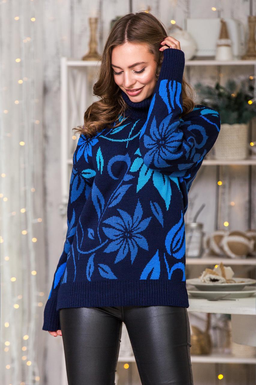 Свитер с цветочным принтом Вероника   (синий, джинс, василек, бирюза)