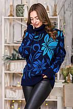Свитер с цветочным принтом Вероника   (синий, джинс, василек, бирюза), фото 3