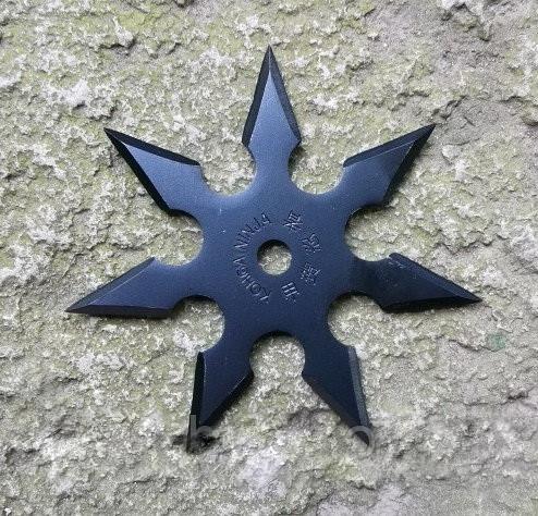 Нож - звезда черная метательный набор 3 шт + чехол, (семиконечная) иглообразная пластина для метания