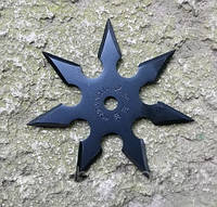 Нож - звезда черная метательный набор 3 шт + чехол, (семиконечная) иглообразная пластина для метания, фото 1