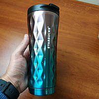 Термос термокружка Starbucks violet blue Старбакс Градиент EL-276 500 ml фиолетово-голубая кружка реплика