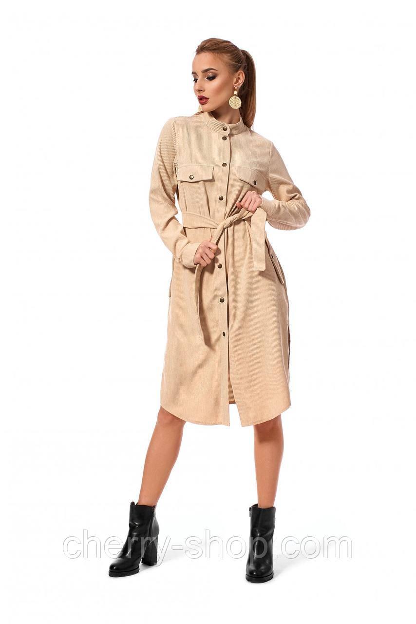 Платье - рубашка из шикарной ткани: вельвет