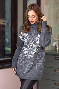 Теплый свитер со снежинками Сказка (темно-серый, белый)