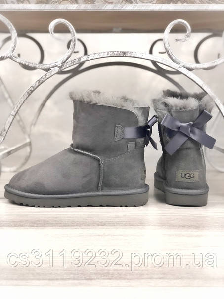 Женские сапоги зимние UGG Bailey Bow Mini (серый)