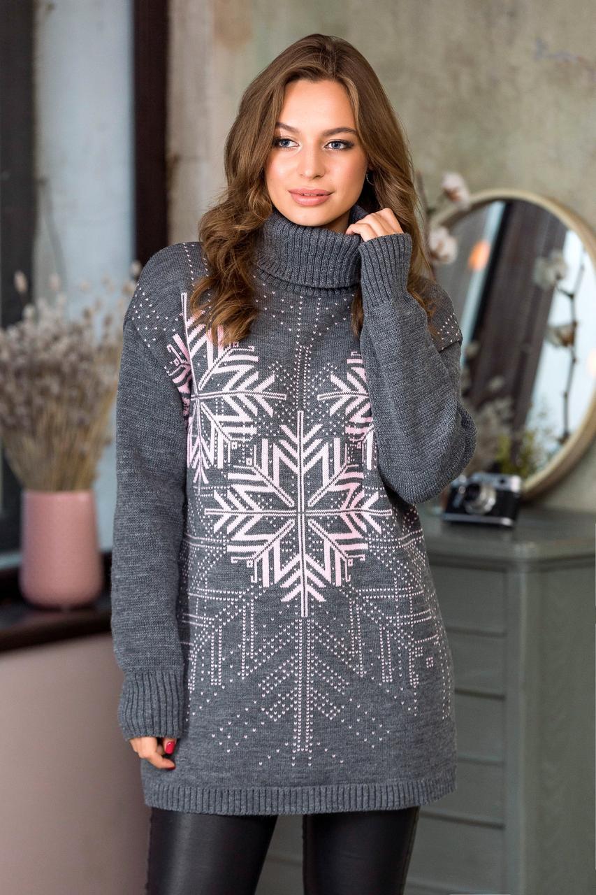 Теплый свитер со снежинками Сказка (темно-серый, розовый)