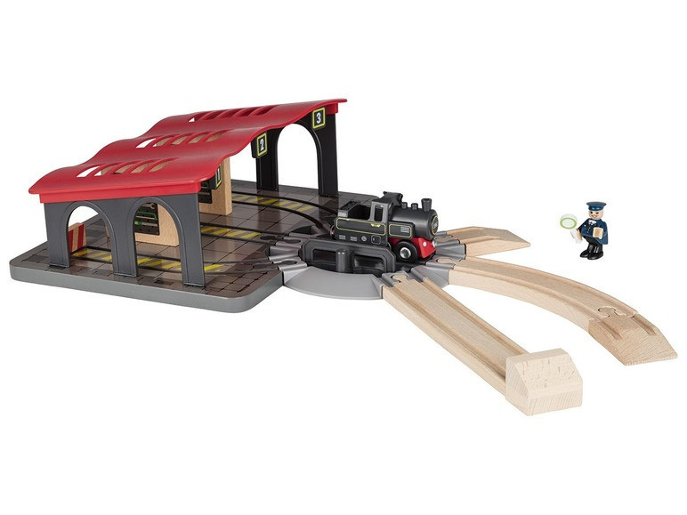 Локомотивне депо з поворотним колом для дерев'яної залізниці Playtive Junior