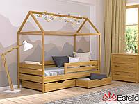 Деревянная детская кровать - домик Амми 80х190, бук, Эстелла, магазин мк