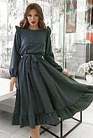 Платье женское с рюшиками в горох Бутылочный