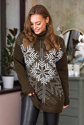 """Теплий светр з сніжинками """"Казка"""" (хакі, білий), фото 2"""