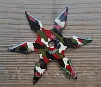 Нож - звезда камуфляж метательный набор 3 шт + чехол, (шестиконечная) иглообразная пластина для метания, фото 1