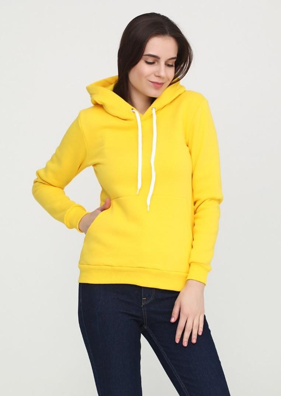 Худи женский с капюшоном, цвет желтый