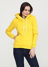 Худи женский с каппюшоном, цвет желтый