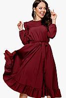 Платье женское с рюшиками Бордовый
