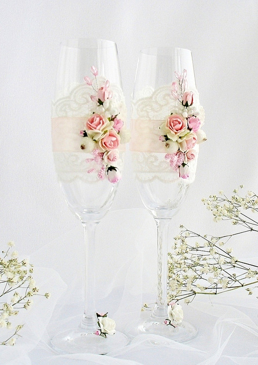 Свадебные бокалы - розовый шик