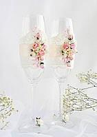 Свадебные бокалы - розовый шик, фото 1