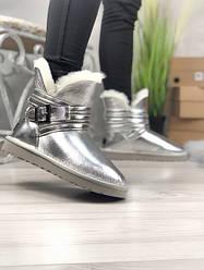 Женские сапоги зимние UGG Classic Short Metallic (серый)