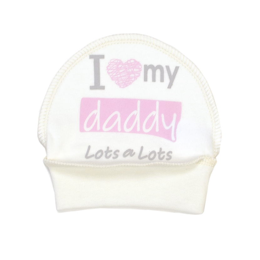 Шапочка I love my daddy pink интерлок молочный