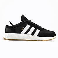 Мужские кроссовки Adidas Iniki Runner Boost black&white (Адидас Иники) черные