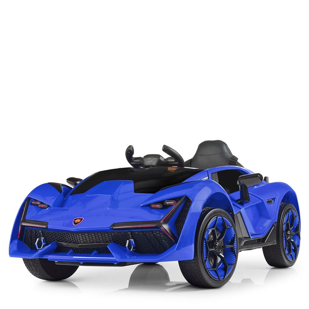 Дитячий електромобіль M 4115 EBLR-4, Lamborghini Aventador, EVA гума, шкіряне сидіння, синій