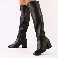 36,37,38,39 Модные зимние кожаные сапоги женские на удобном широком каблуке зима черные G40TR88V