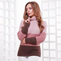 """Теплый трехцветный свитер вязаный женский """"Лайк"""""""