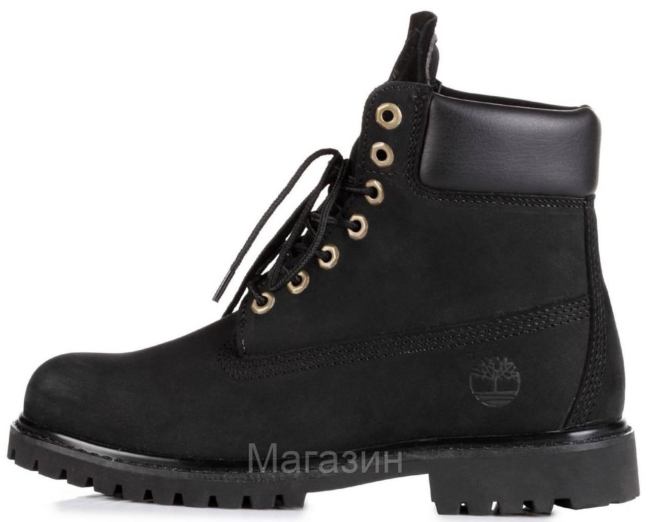Женские зимние ботинки Timberland 6 Inch Premium Black 2020 Тимберленды БЕЗ МЕХА Тимбы черные