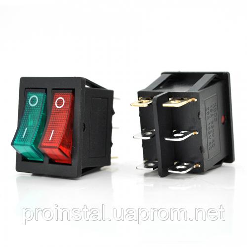 Перемикач ON-ON KCD4-212N, 250VAC / 15A, 6 контактів, Red / Green, Q50 ( 245*170*41 ) 0,75 кг